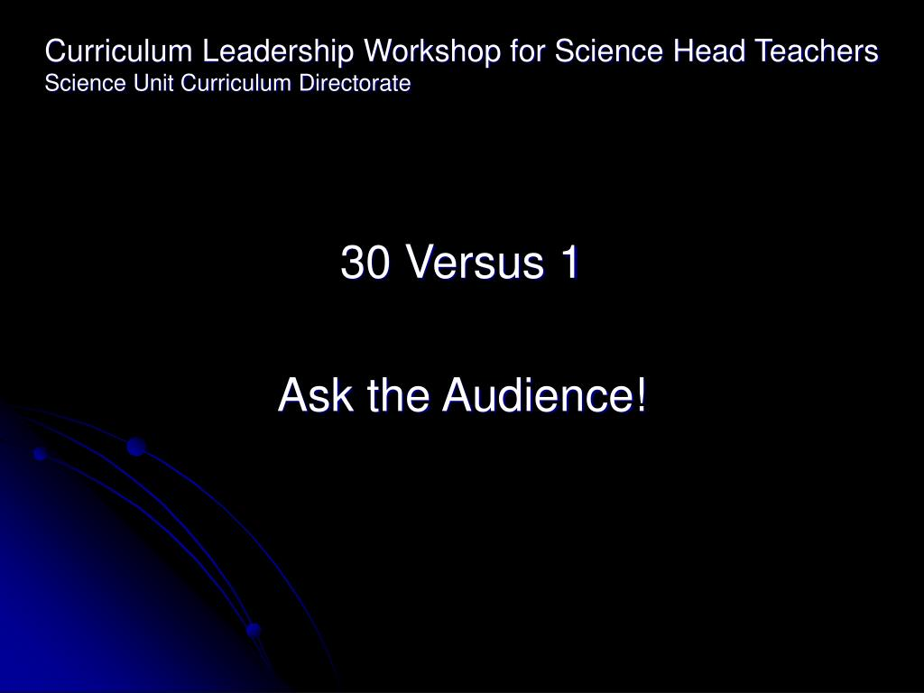 Curriculum Leadership Workshop for Science Head Teachers