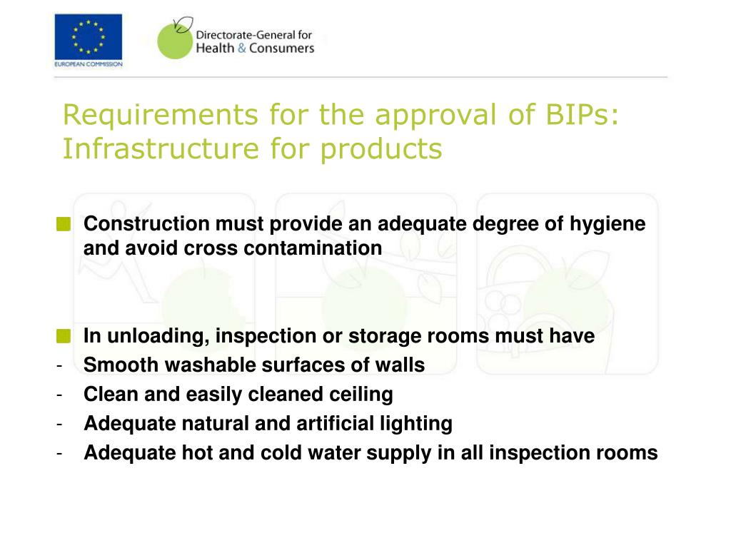 Requirements for the approval of BIPs: Infrastructure for products