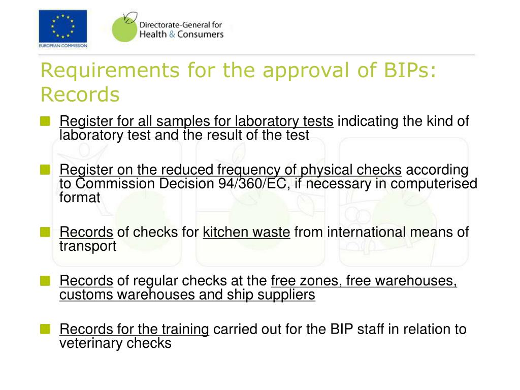 Requirements for the approval of BIPs: Records
