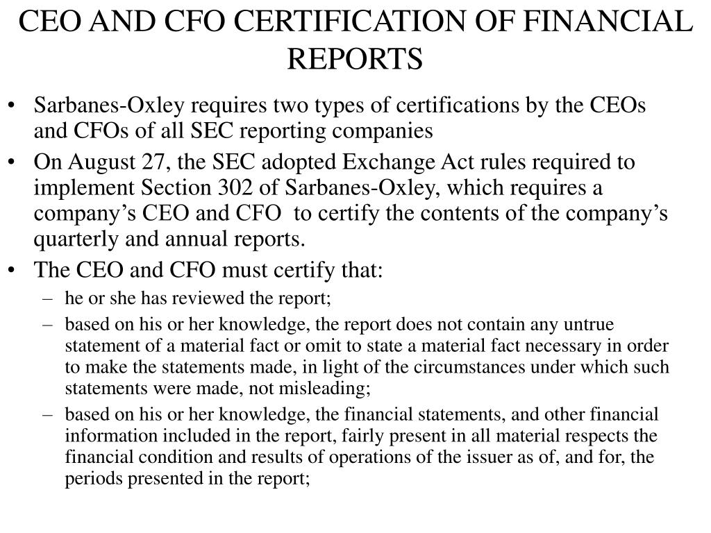 CEO AND CFO CERTIFICATION OF FINANCIAL REPORTS