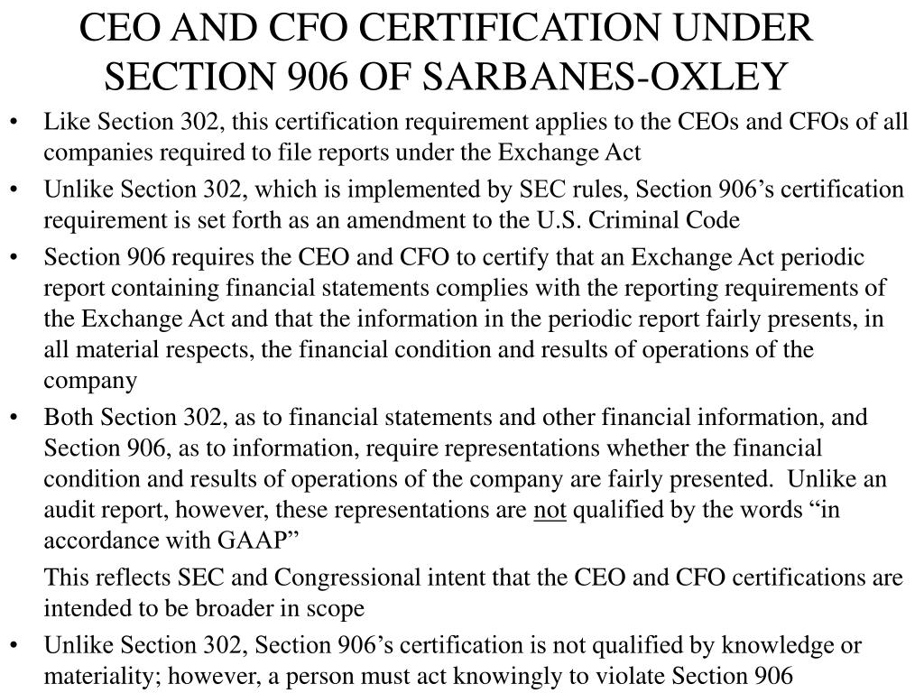 CEO AND CFO CERTIFICATION UNDER SECTION 906 OF SARBANES-OXLEY