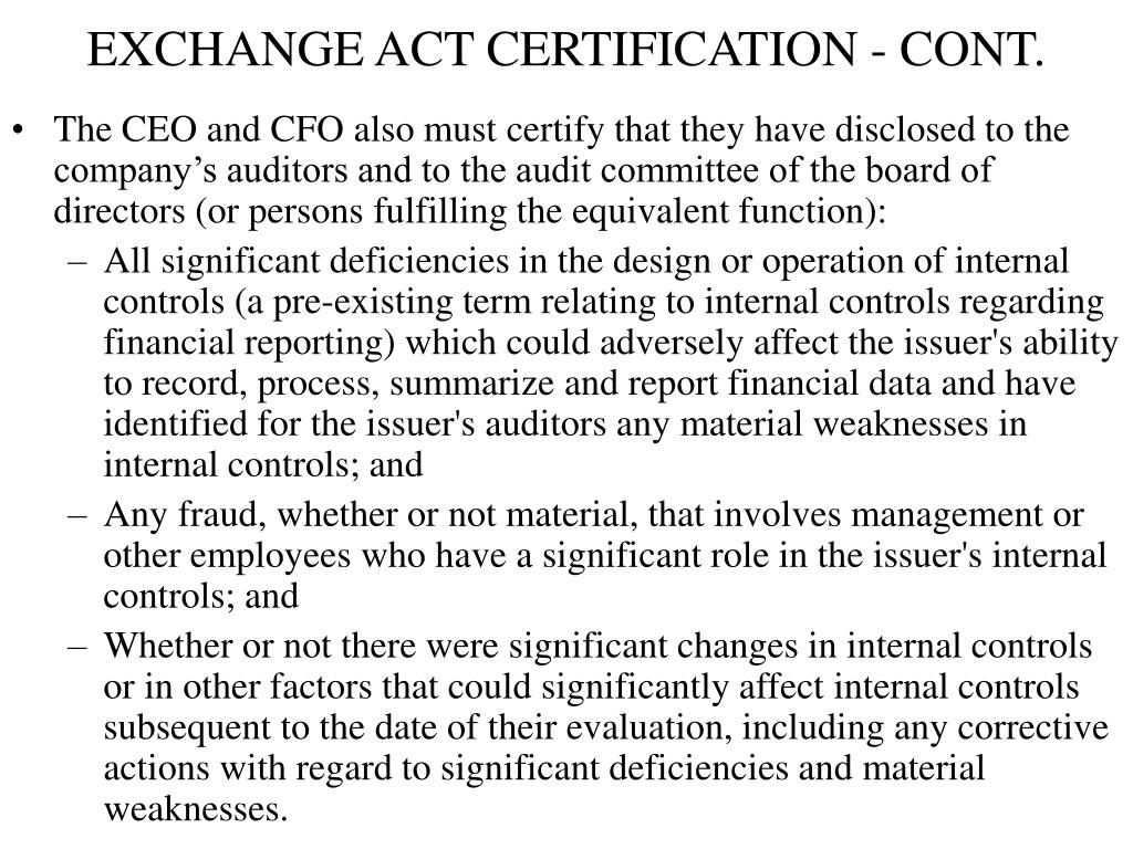 EXCHANGE ACT CERTIFICATION - CONT.