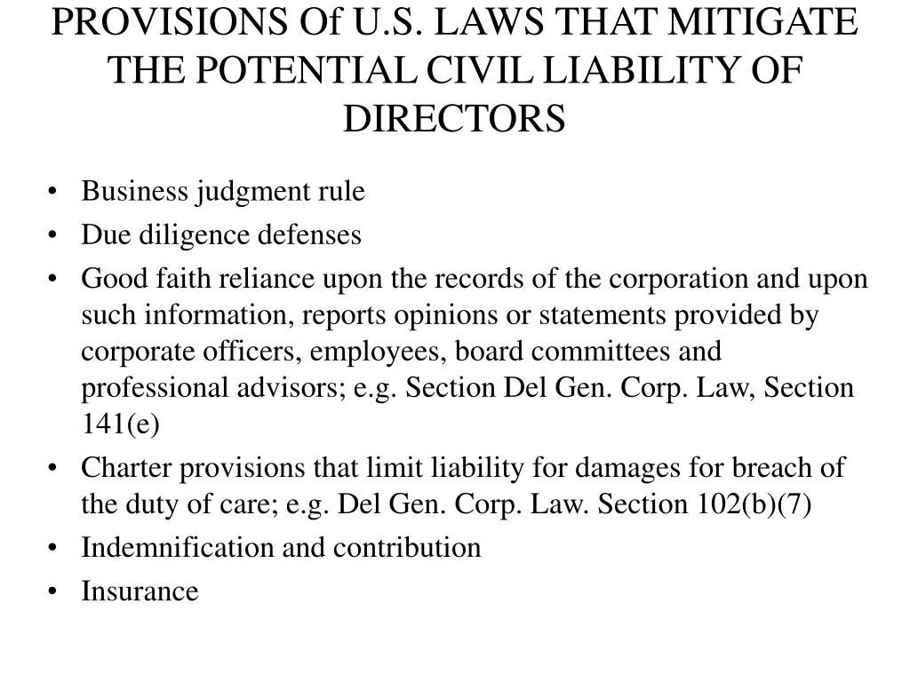 PROVISIONS Of U.S. LAWS THAT MITIGATE THE POTENTIAL CIVIL LIABILITY OF DIRECTORS