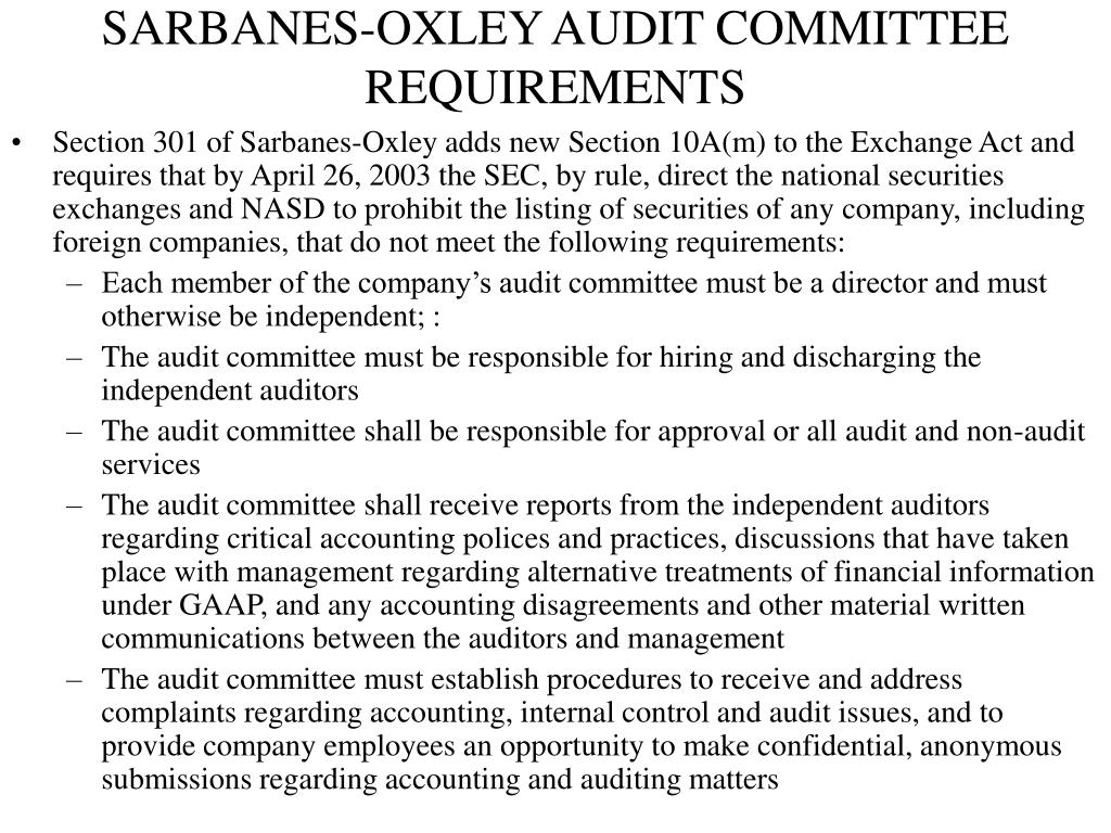 SARBANES-OXLEY AUDIT COMMITTEE REQUIREMENTS