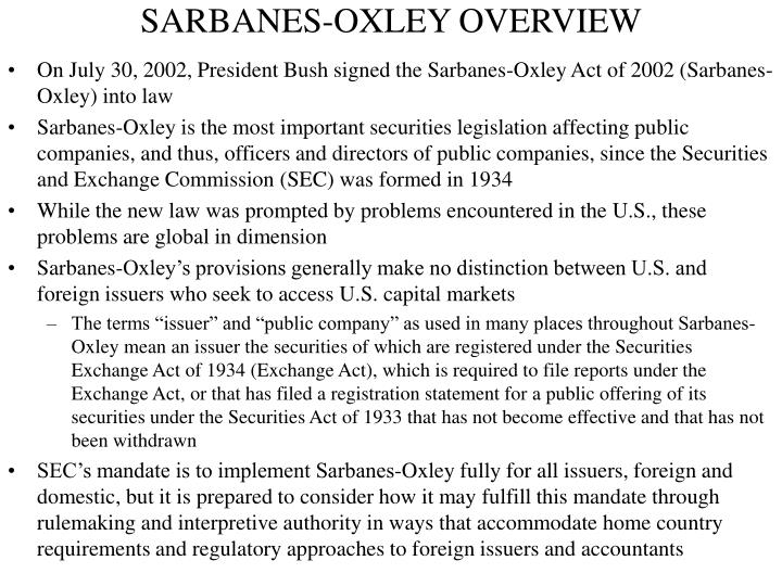 Sarbanes oxley overview