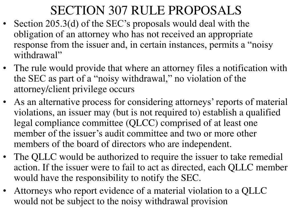 SECTION 307 RULE PROPOSALS