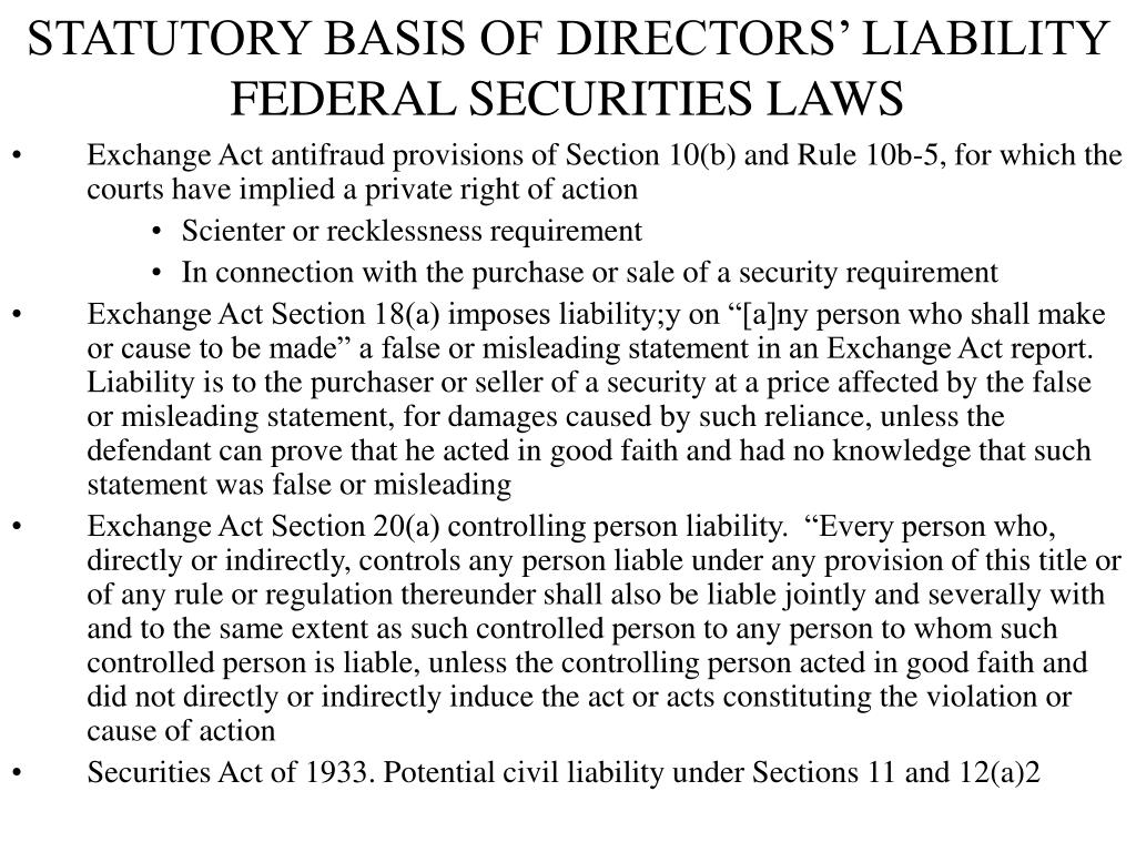 STATUTORY BASIS OF DIRECTORS' LIABILITY FEDERAL SECURITIES LAWS