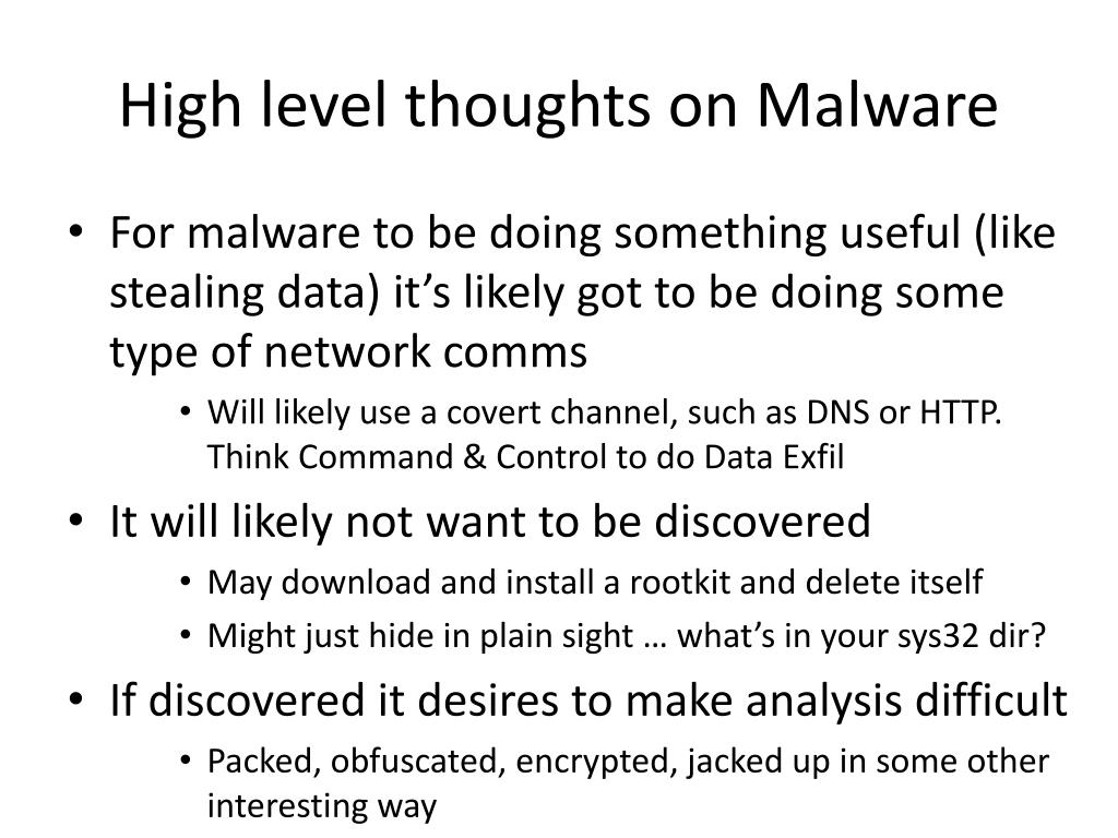 High level thoughts on Malware