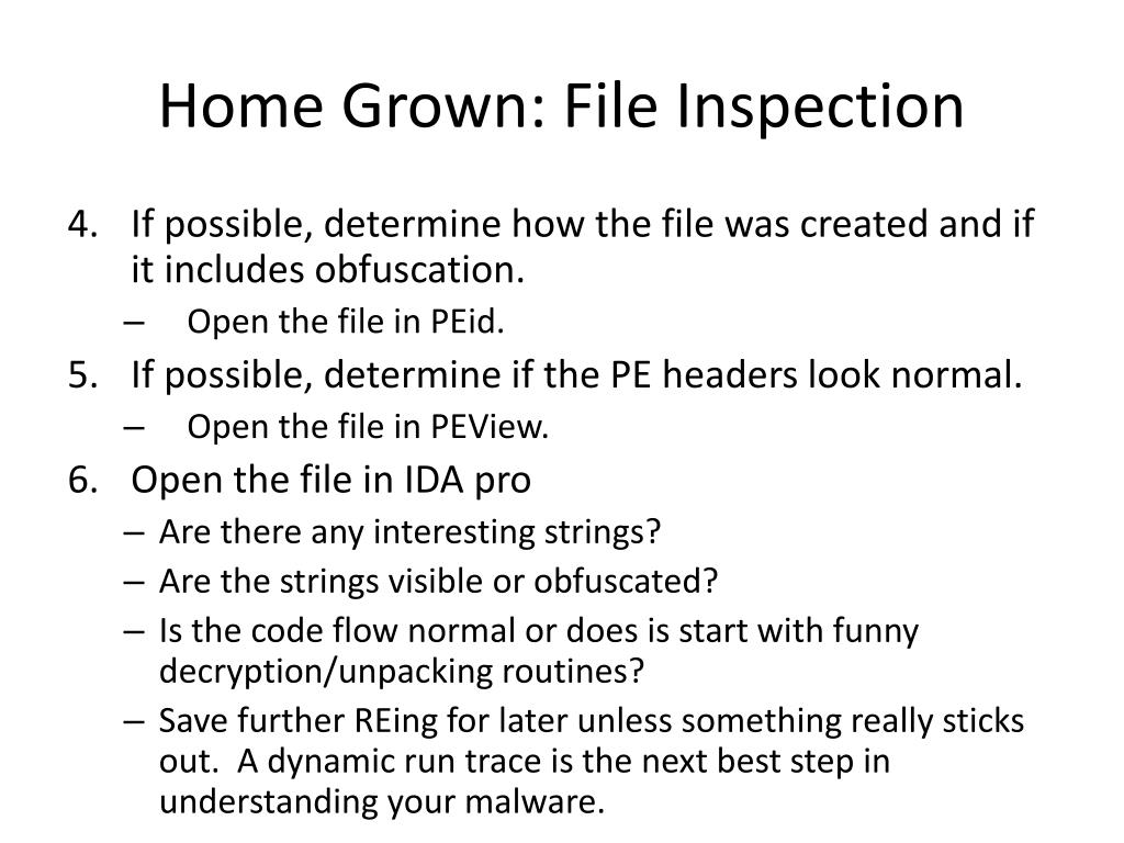 Home Grown: File Inspection