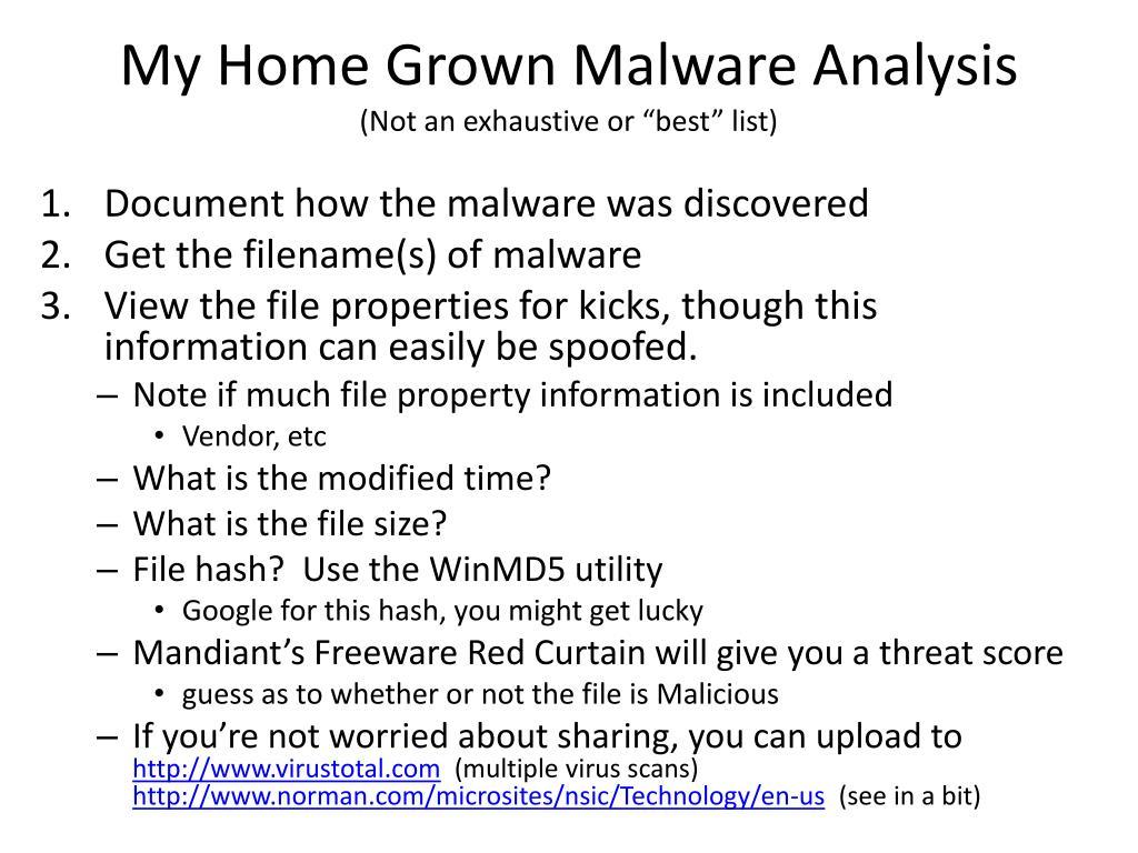My Home Grown Malware Analysis