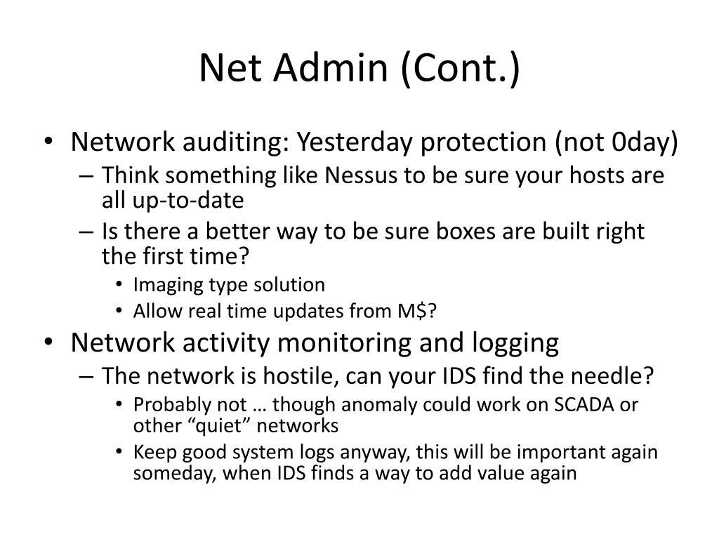 Net Admin (Cont.)