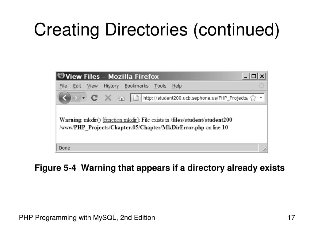 Creating Directories (continued)