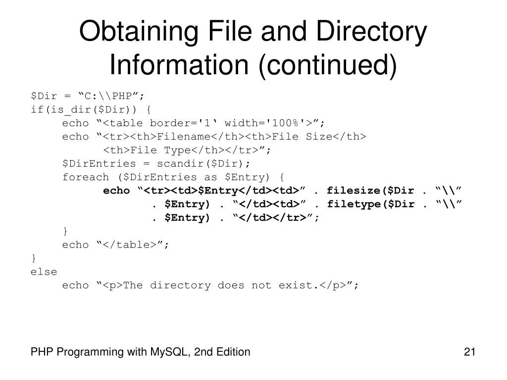 Obtaining File and Directory Information (continued)