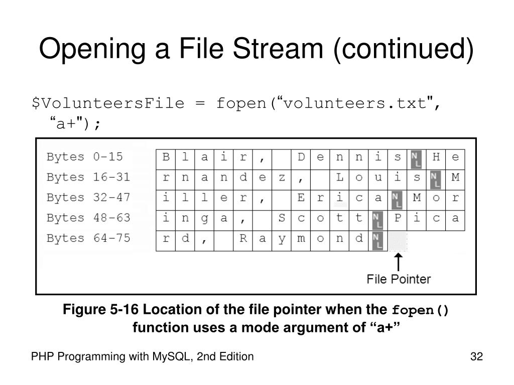 Opening a File Stream (continued)
