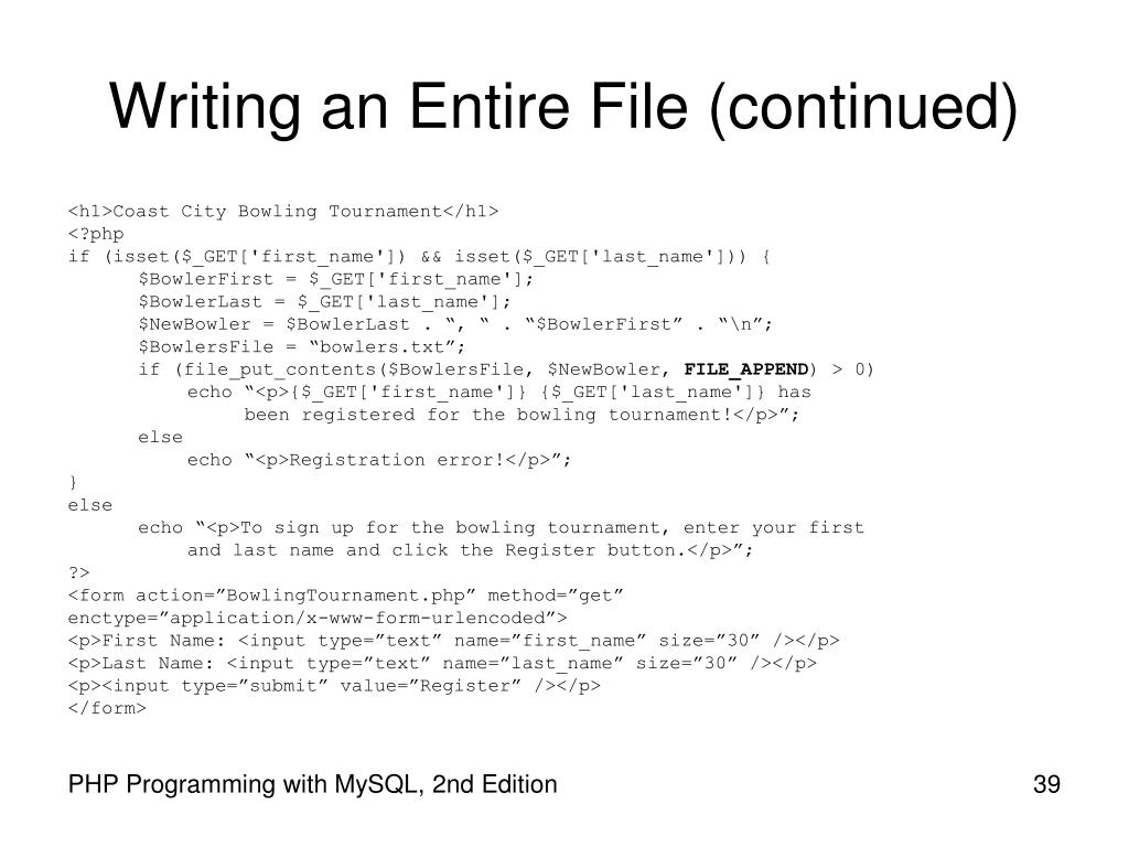 Writing an Entire File (continued)