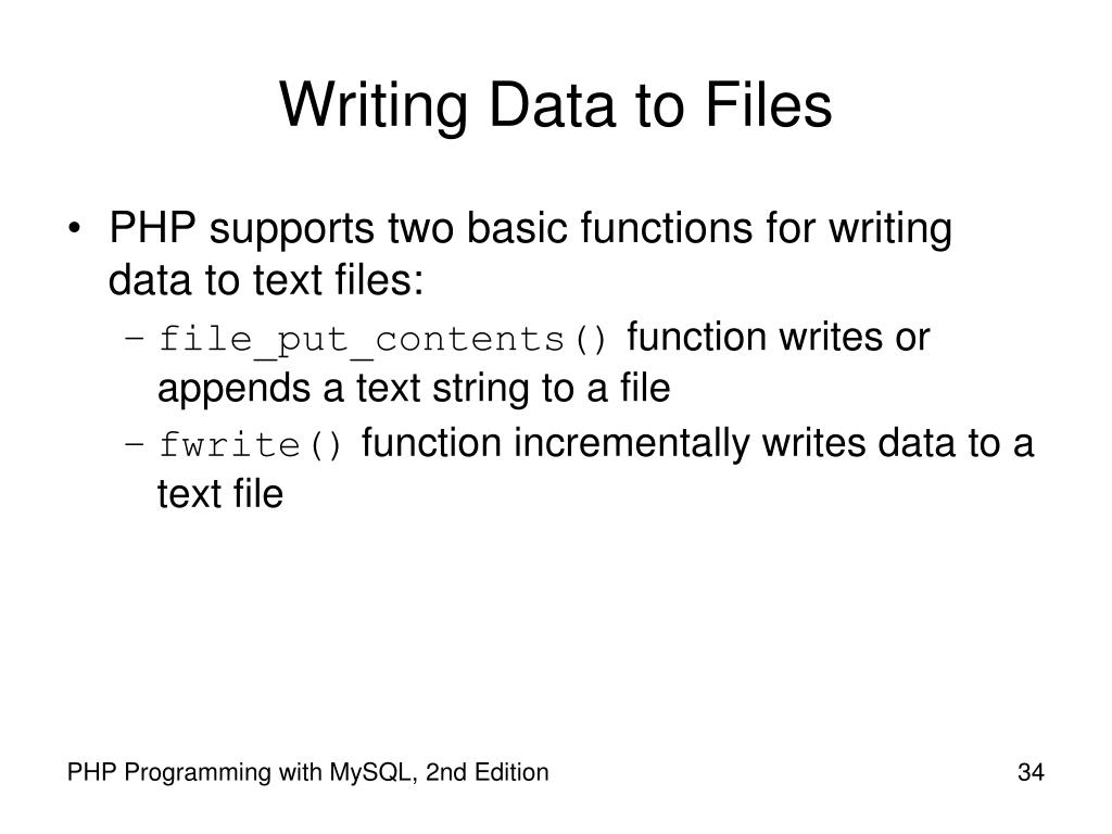 Writing Data to Files