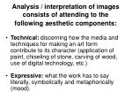 analysis interpretation of images consists of attending to the following aesthetic components24