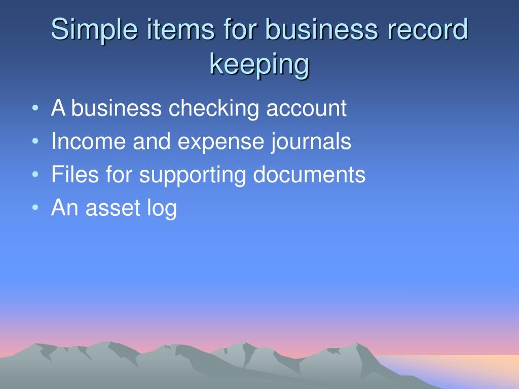 Simple items for business record keeping