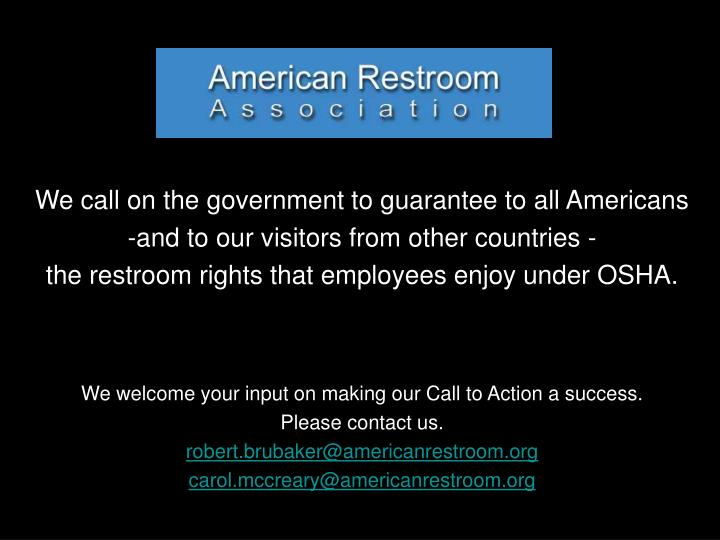 We call on the government to guarantee to all Americans