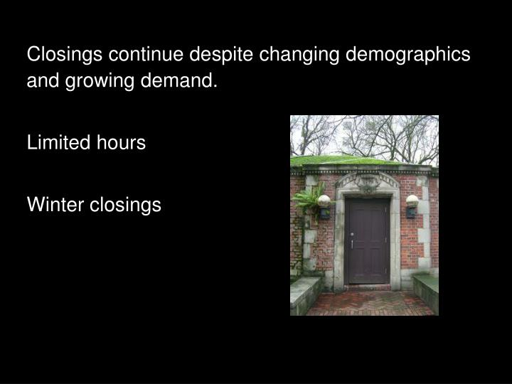 Closings continue despite changing demographics and growing demand.