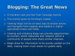 blogging the great news