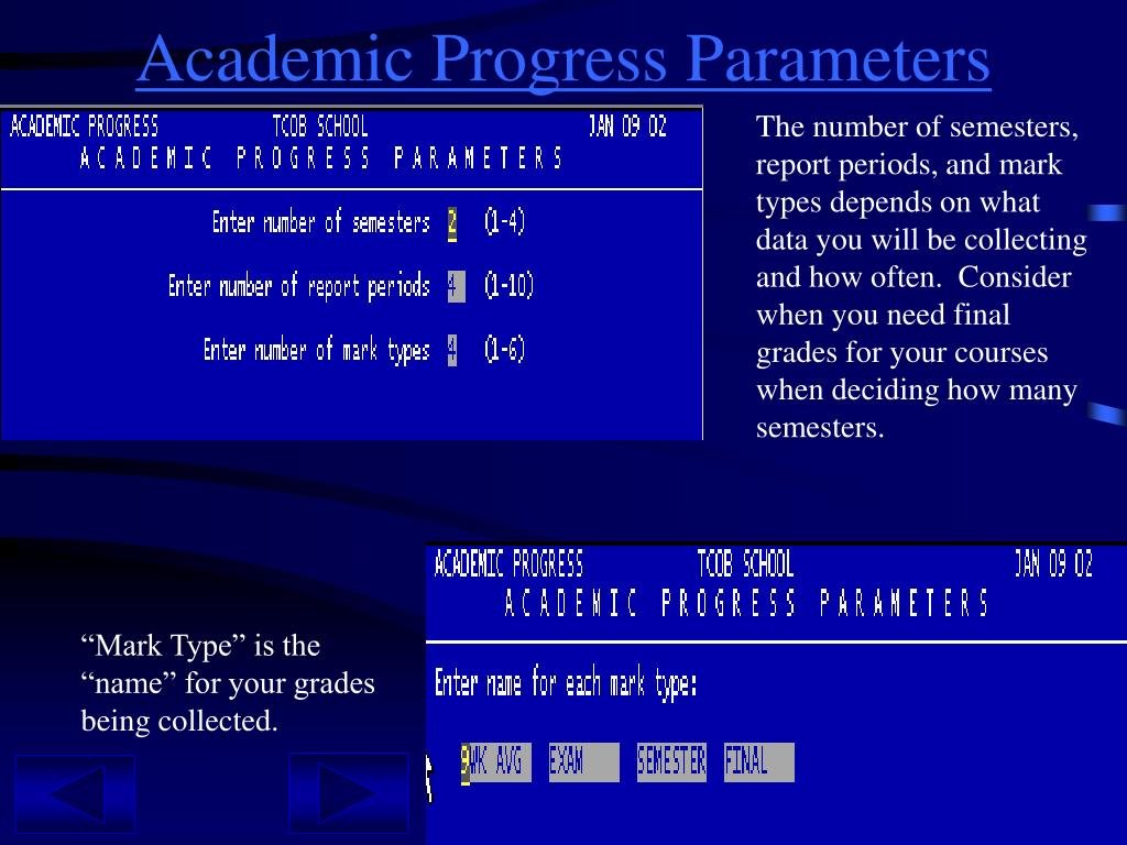 Academic Progress Parameters