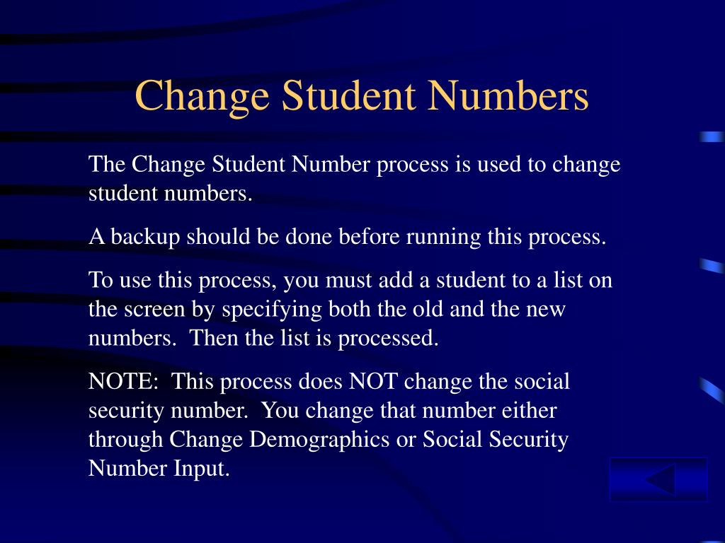 Change Student Numbers