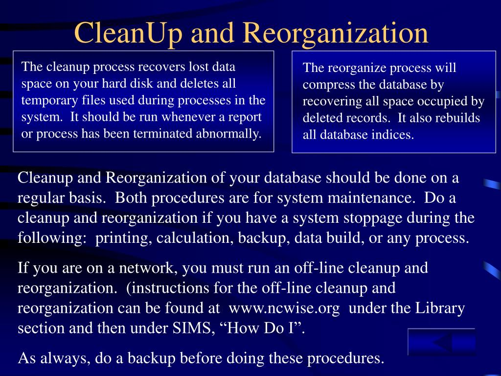 The reorganize process will compress the database by recovering all space occupied by deleted records.  It also rebuilds all database indices.
