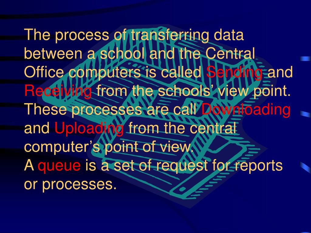The process of transferring data between a school and the Central Office computers is called