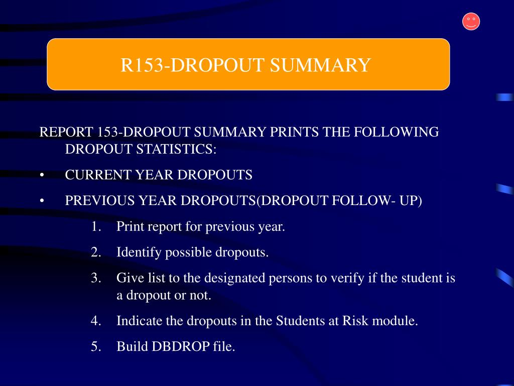R153-DROPOUT SUMMARY