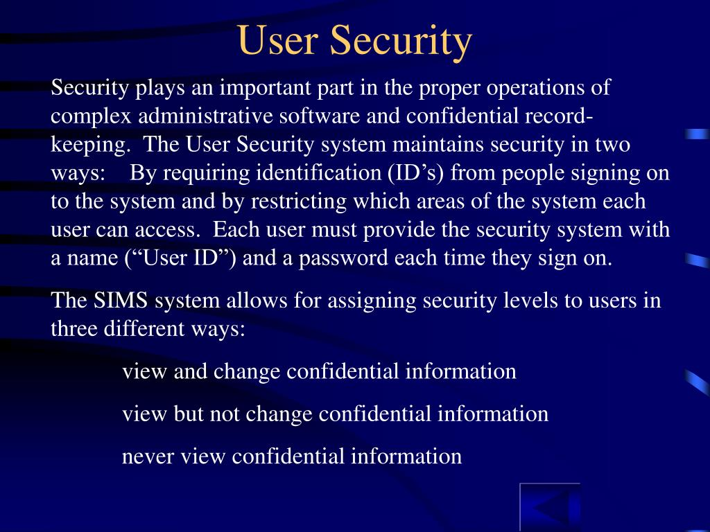 User Security