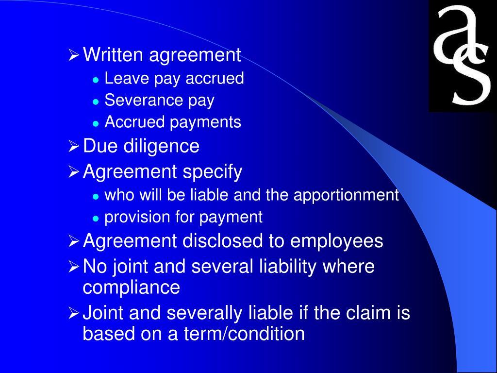 Written agreement