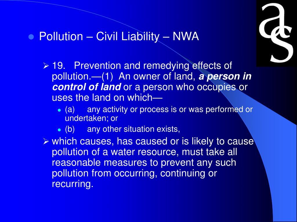 Pollution – Civil Liability – NWA