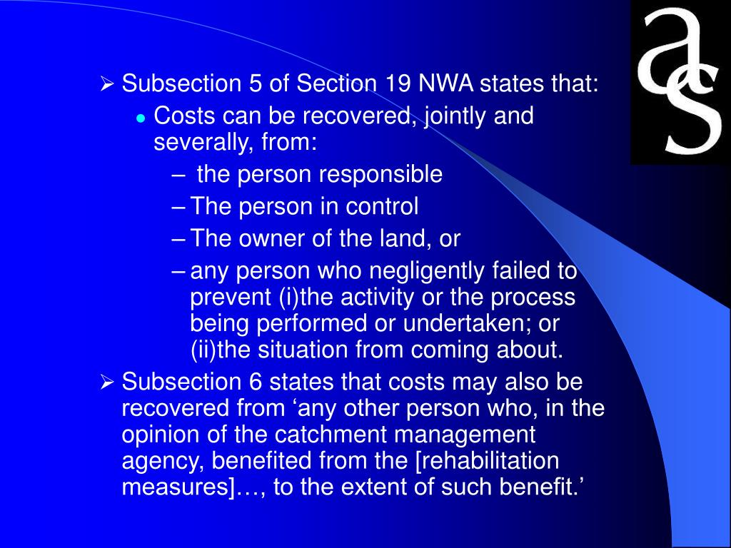 Subsection 5 of Section 19 NWA states that: