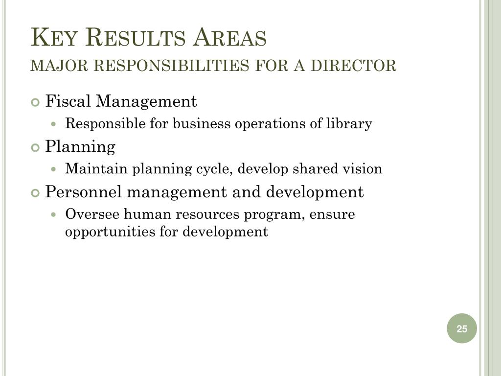 Key Results Areas