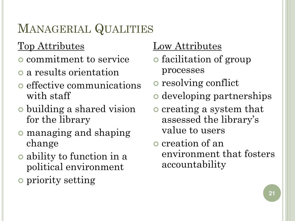 Managerial Qualities
