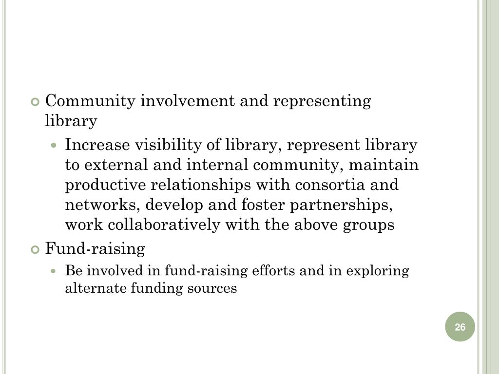 Community involvement and representing library