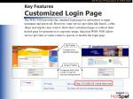 key features customized login page