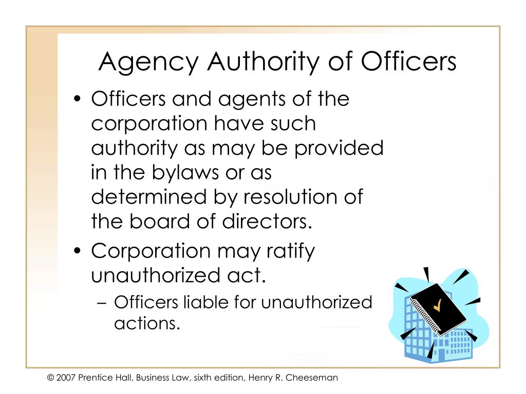 Agency Authority of Officers