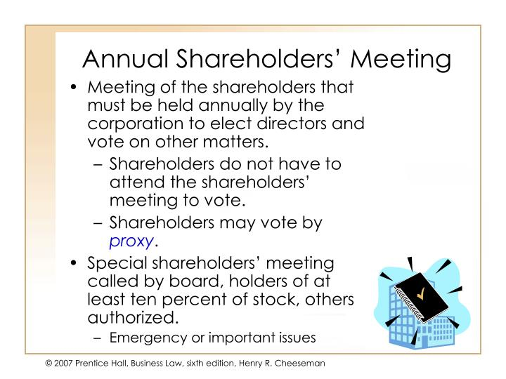 Annual shareholders meeting