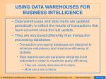 using data warehouses for business intelligence66