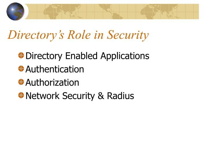 Directory's Role in Security