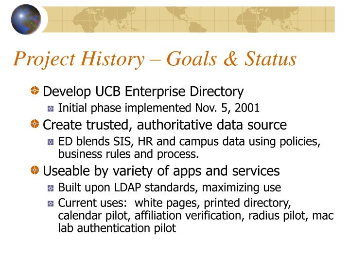 Project History – Goals & Status