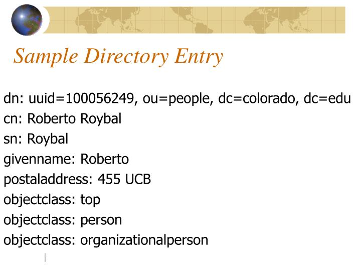 Sample Directory Entry