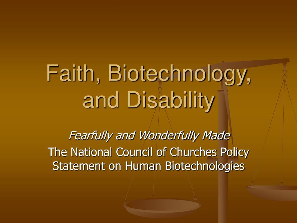 faith biotechnology and disability