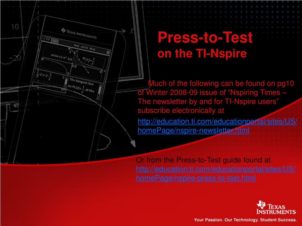 big sale 8568d 5c47f PPT - Press-to-Test on the TI-Nspire PowerPoint Presentation ...