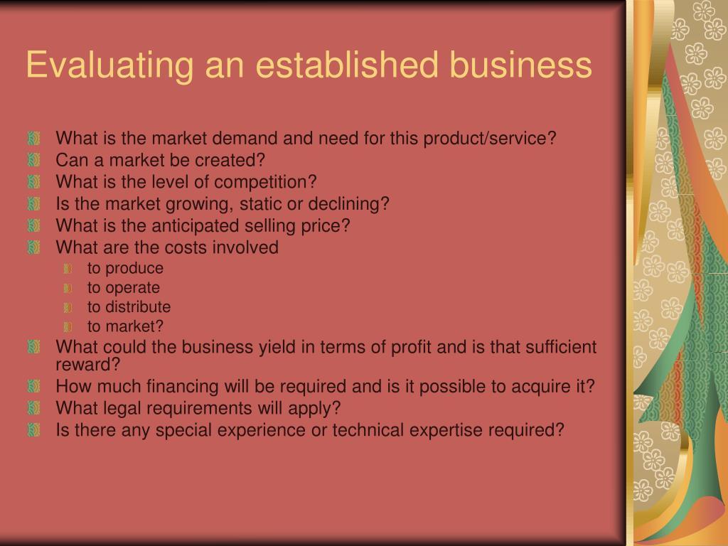 Evaluating an established business