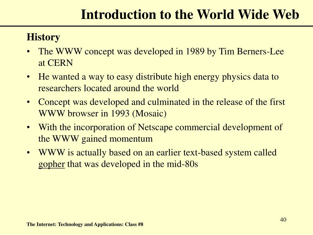 Introduction to the World Wide Web