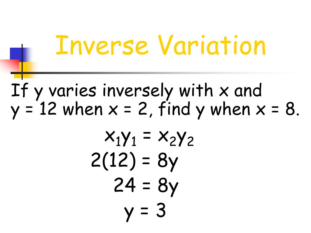 If y varies inversely with x and