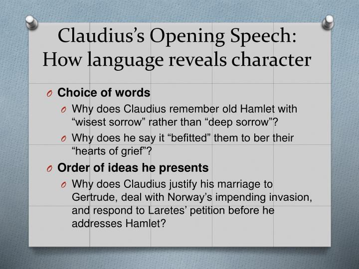 Claudius's Opening Speech: